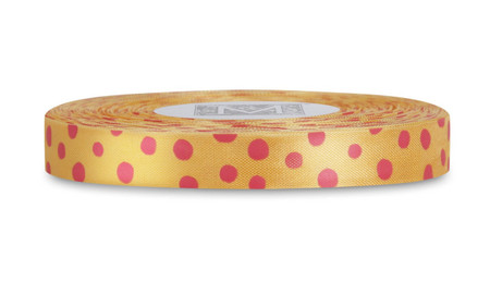Pink Polka Dots on Marigold Rayon Trimming Ribbon