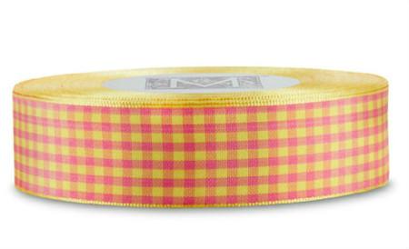 Checked Taffeta Ribbon - Yellow/Fuchsia