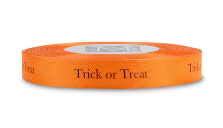 "Black ""Trick or Treat"" on Persimmon Ribbon - Rayon Trimming Sayings"