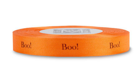 "Black ""Boo"" on Persimmon Ribbon - Rayon Trimming Sayings"