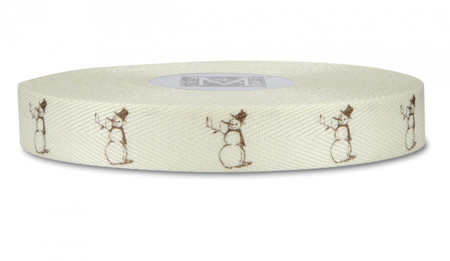 Brown Snowman on Bone Ribbon - Symbols on Herringbone