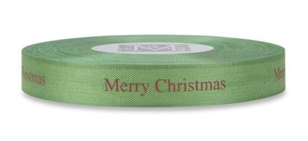 "Red ""Merry Christmas"" on Lemon Grass Ribbon - Rayon Trimming Sayings"