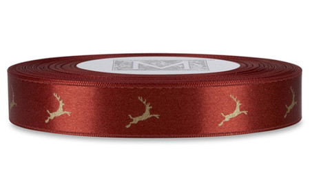White Gold Reindeer on Venetian Red Ribbon - Double Faced Satin Symbols