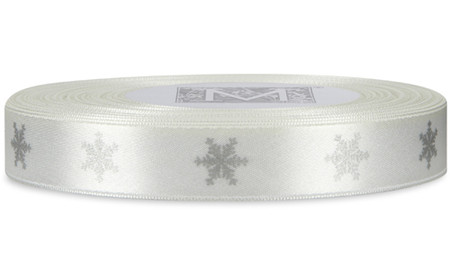 Silver Snowflake on Alabaster Ribbon - Double Faced Satin Symbols