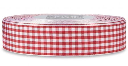 Checked Taffeta Ribbon - White/Red