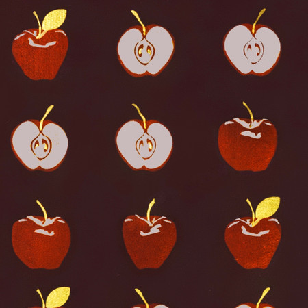Gift Wrap - Apples - Eggplant/Red Metallic Silver