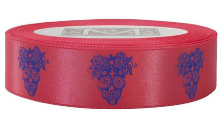 Day of the Dead - Blue ink on Kiss Ribbon - Double Faced Satin Symbols