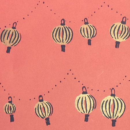 Gift Wrap - Lanterns - Coral/Gold