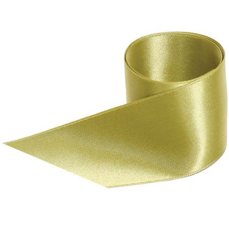 French Double Faced Satin Ribbon - Green Ochre