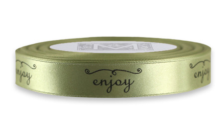 "Black ink ""Enjoy"" on Celadon Ribbon - Double Faced Satin Sayings"