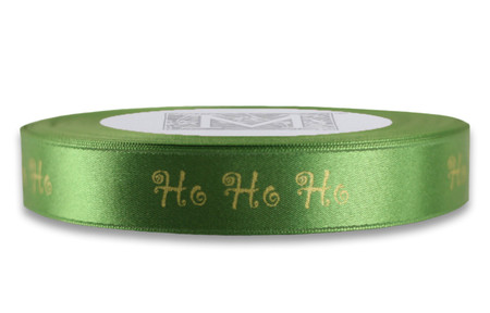 "White Gold ""Ho Ho Ho"" on Parsley Ribbon - Double Faced Satin Sayings"