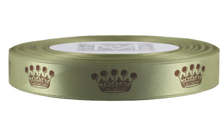 Brown Crown on Celadon Ribbon - Double Faced Satin Symbols