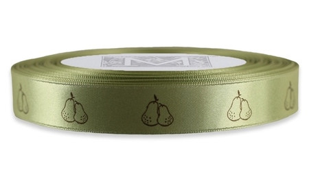Brown Pears on Celadon Ribbon - Double Faced Satin Symbols