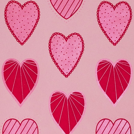 Gift Wrap - Hearts - Pink/Red