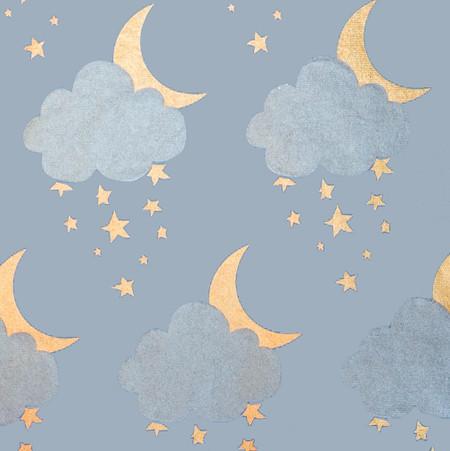 Gift Wrap - Sweet Dreams - Light Blue/Metallic Silver