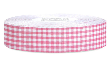 Checked Taffeta Ribbon - White/Fuchsia