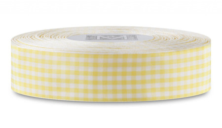 Checked Taffeta Ribbon - White/Yellow