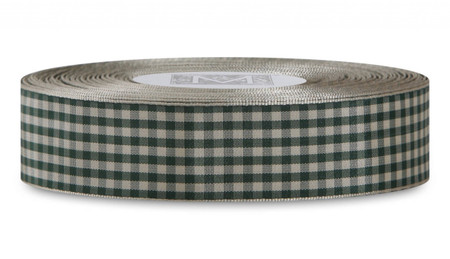 Checked Taffeta Ribbon - Cream/Hunter