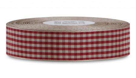 Checked Taffeta Ribbon - Cream/Red