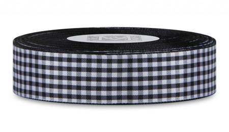 Checked Taffeta Ribbon - Black/White