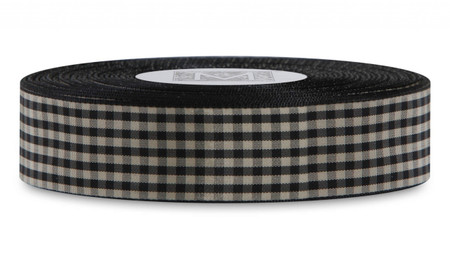 Checked Taffeta Ribbon - Black/Cream