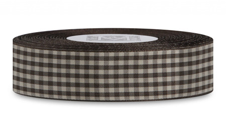 Checked Taffeta Ribbon - Brown/Cream