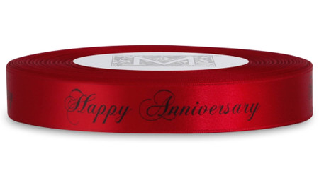 "Double Faced Satin Sayings - Black ink ""Happy Anniversary"" on Red"