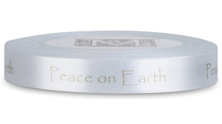 "Double Faced Satin Sayings - White Gold ink ""Peace On Earth"" on Alabaster"