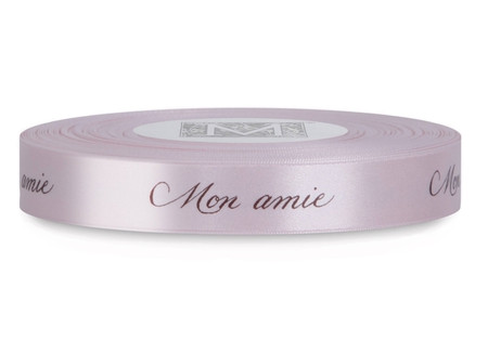 "Brown ink ""Mon Amie"" on Cherry Blossom Ribbon - Double Faced Satin Sayings"