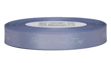"White ink ""Happy Mother's Day!"" on Heliotrope Ribbon - Double Faced Satin Sayings"
