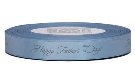 "Dark grey ink ""Happy Father's Day!"" on Woad Blue Ribbon - Double Faced Satin Sayings"