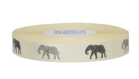Dark Grey ink Elephant on Bone Ribbon - Double Faced Satin Symbols