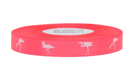 White ink Flamingo on Quince Ribbon - Double Faced Satin Symbols