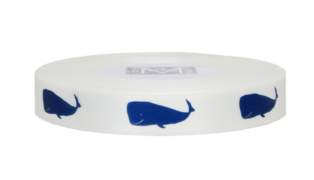 Navy ink Whale on Alabaster Ribbon - Double Faced Satin Symbols