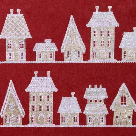 Gift Wrap - Gingerbread - Red/Metallic Beige/Iridescent Glitter