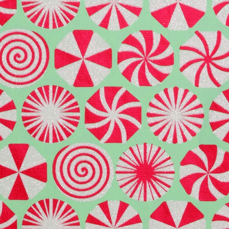 Gift Wrap - Peppermint - Mint/Red/Iridescent Glitter