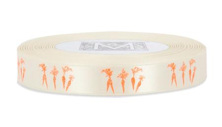 Orange ink Carrots on Bone Ribbon - Double Faced Satin Symbols