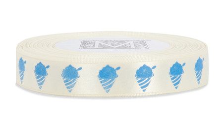Blue ink Shaved Ice on Bone Ribbon - Double Faced Satin Symbols