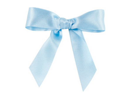 Embossed Edge Double Faced Satin - Sky