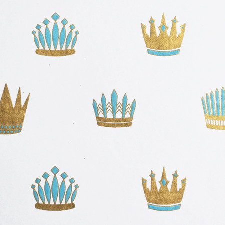 Royal Crown  - White/Light Blue and Metallic Gold