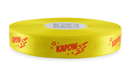 "Red Ink ""Kapow"" on Golden Chain Ribbon - Double Faced Satin Sayings"