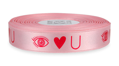 """Hard Pink ink """"Eye Heart U"""" on Cherry Blossom Ribbon - Double Faced Satin Sayings"""