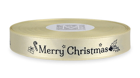 """Black ink """"Merry Christmas"""" on Bone Ribbon - Double Faced Satin Sayings"""