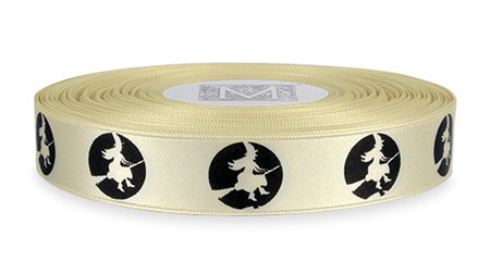 Black ink Witch on Bone Ribbon - Double Faced Satin Symbols