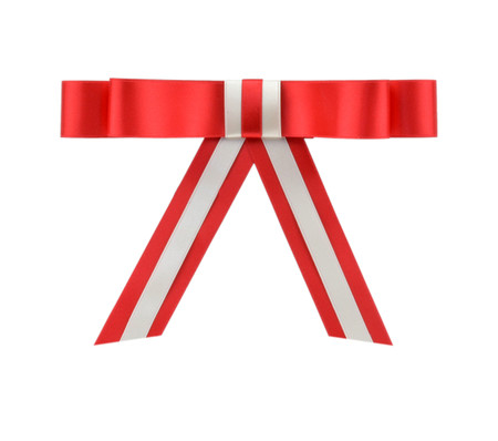 Overlay Bow Topper - Red/Bone