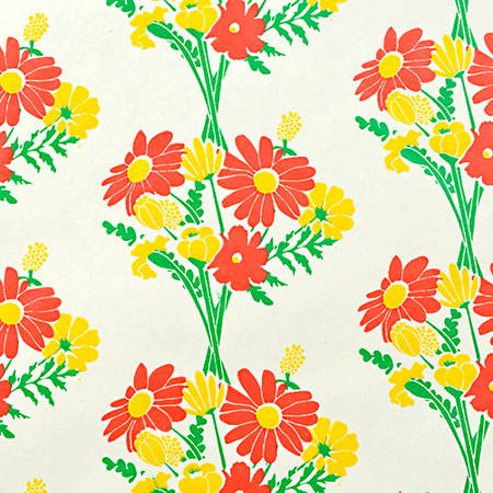 Gift Wrap - Bouquet - Cream/Metallic Green, Yellow and Red