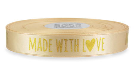 "Gold ""Made with Love"" on Magnolia Ribbon - Double Faced Satin Sayings"