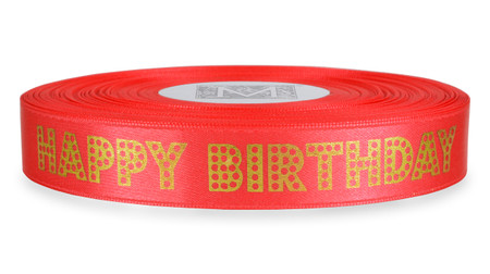 "Gold Dots ""Happy Birthday"" on Quince Ribbon - Double Faced Satin Sayings"