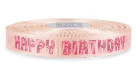 "Magenta ""Happy Birthday"" on Ballerina Ribbon - Rayon Trimming Sayings"