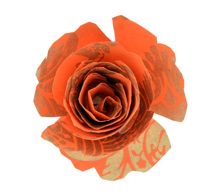 Paper Rose Topper - Pineapple Orange/Gold